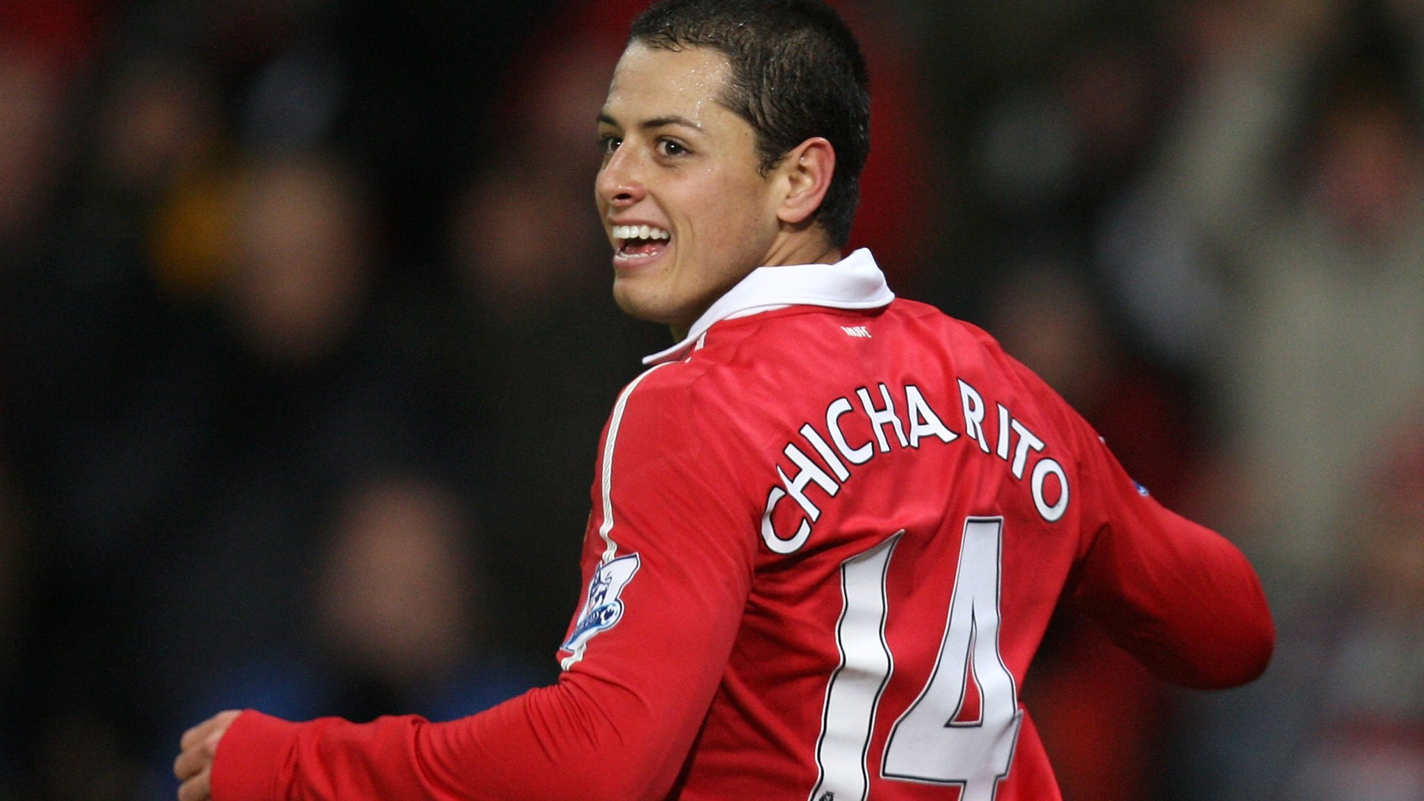 Chicharito con la camiseta del Manchester United