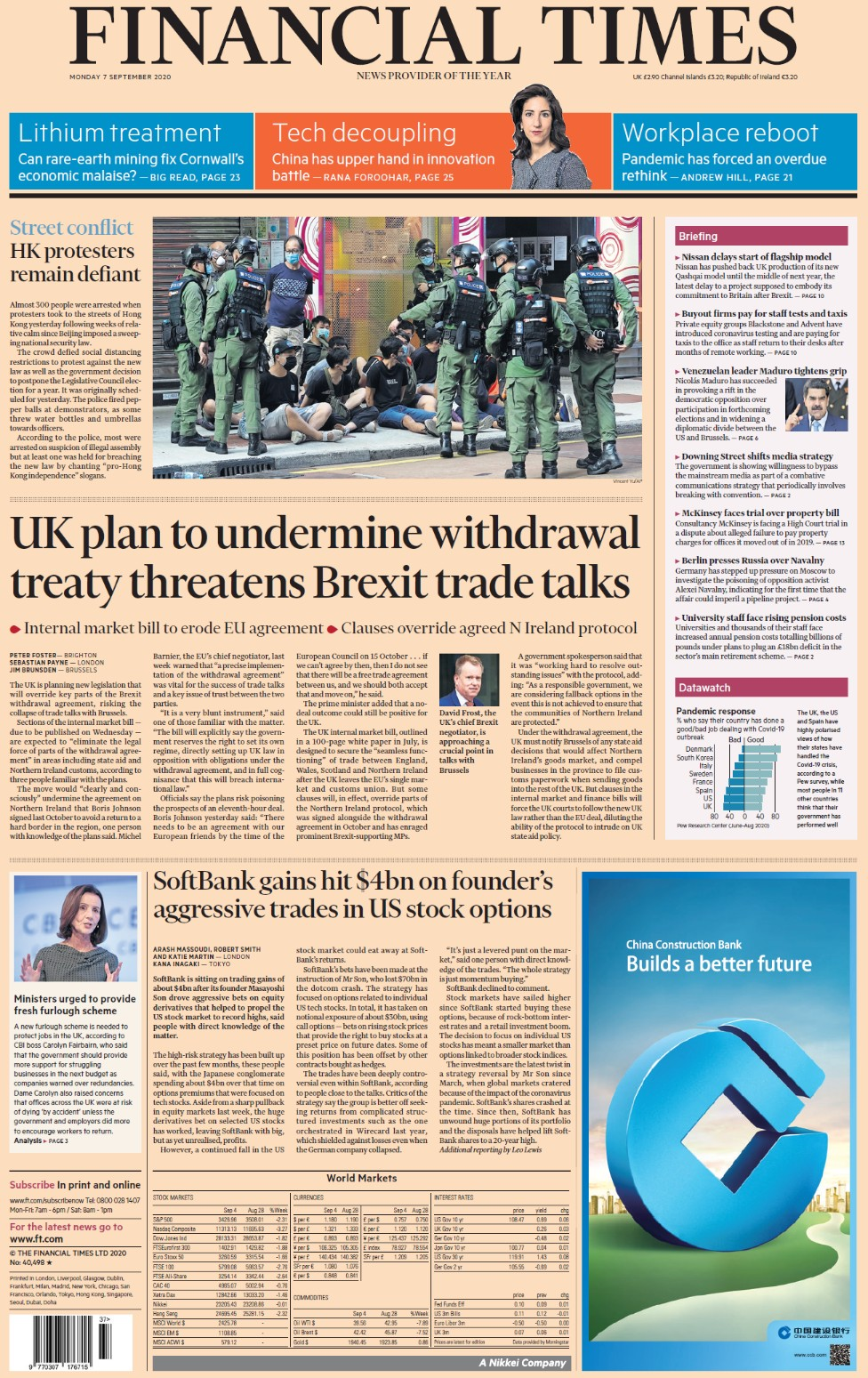 Financial Times front page, 7/9/20