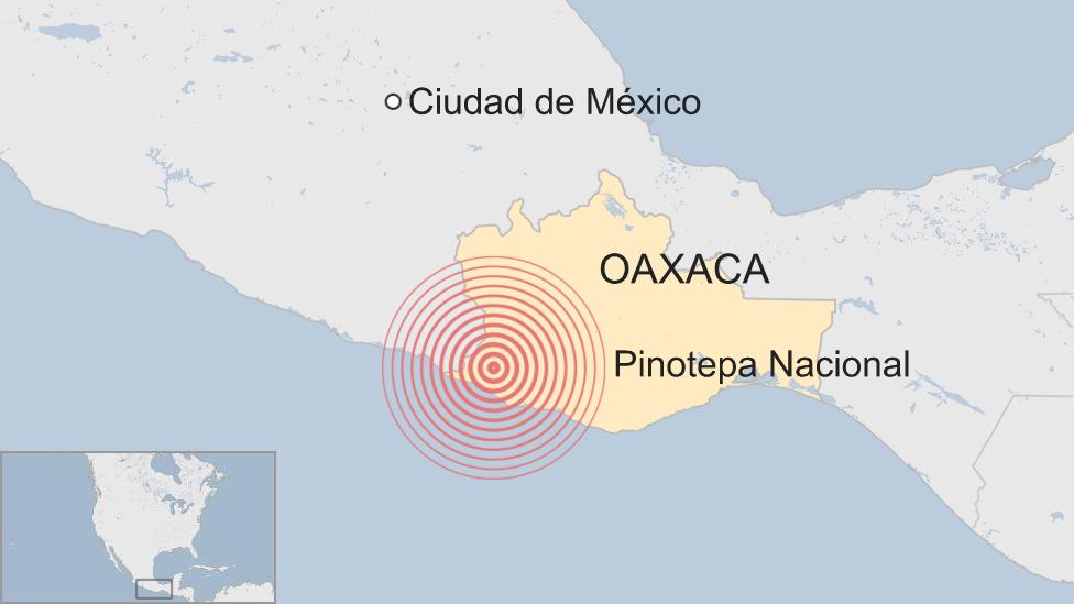 Mapa terremoto en México el 16 de febrero de 2108.
