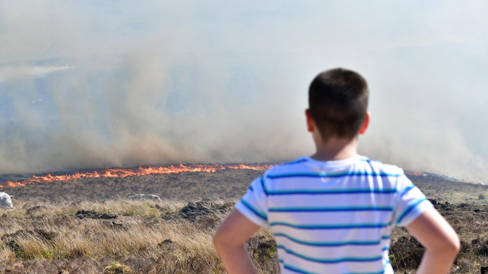 County Donegal: Firefighters tackle large gorse fire