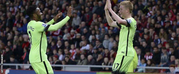 Manchester City duo Raheem Sterling (left) and Kevin De Bruyne
