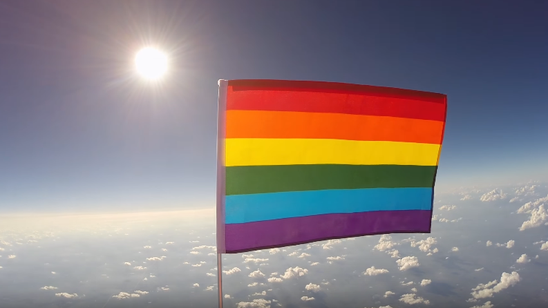 Gay pride flag launched into space 'to spread peace'