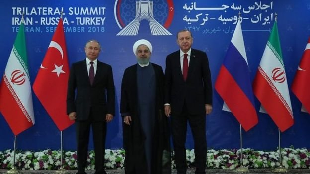 پوتين، روحاني او اردوغان پر سوریې غږېدلي