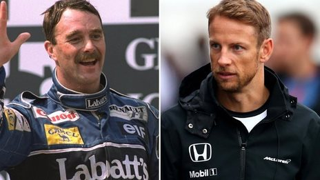 Nigel Mansell and Jenson Button