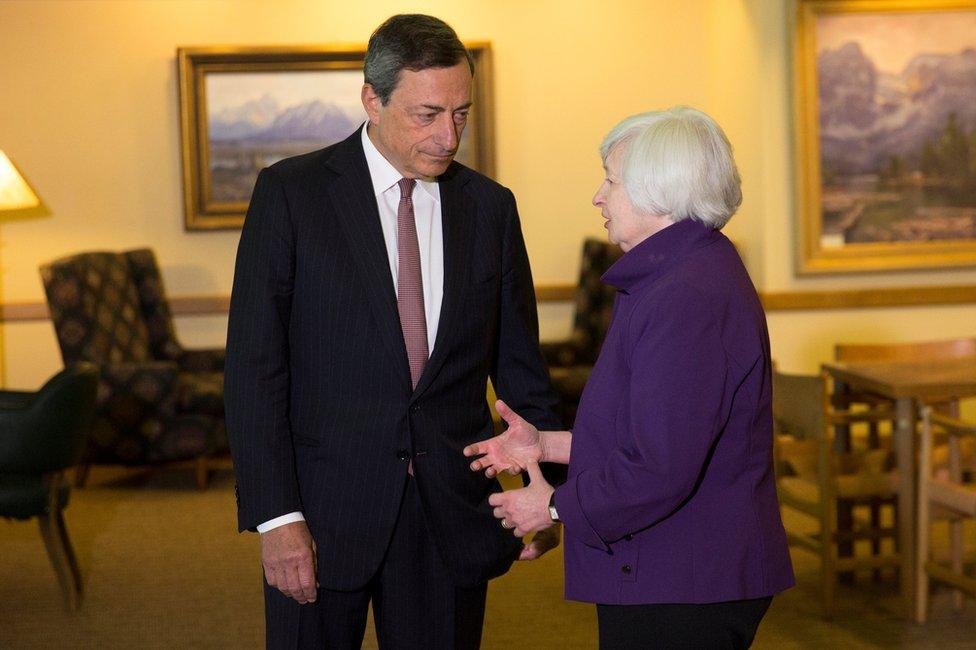 Muchos inversionistas del mundo están pendientes de lo que propongan este viernes la presidenta de la Reserva Federal de Estados Unidos, Janet Yellen, y su homólogo del Banco Central Europeo, Mario Draghi, en Jackson Hole.