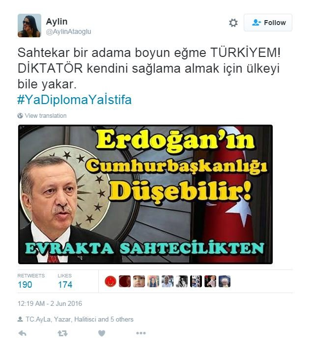 Tweet asking where Erdogan's degree is