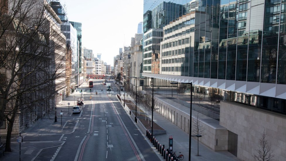 Deserted city of London street in March