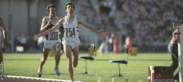 Coe wins 1500m gold in Moscow, making up for the disappointment of finishing second in the 800m