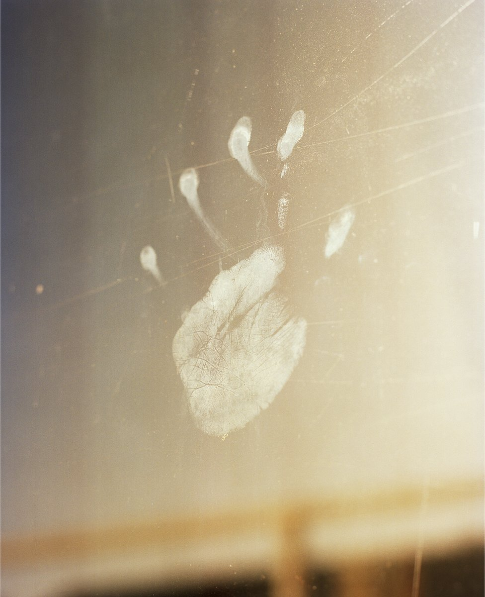 An image of a handprint on glass