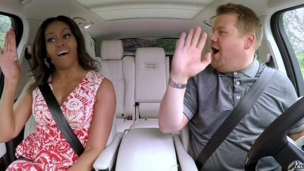 BBC News - Michelle Obama joins James Cordon for Carpool Karaoke
