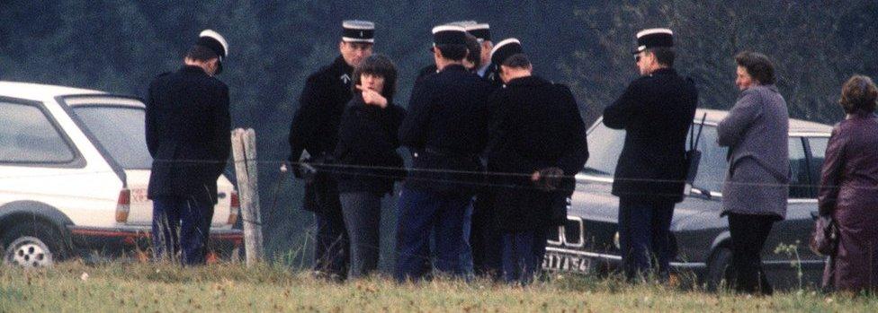 Christine Villemin en la escena del crimen.