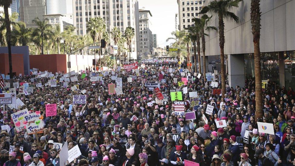 Protesta de Womens March en Los Ángeles