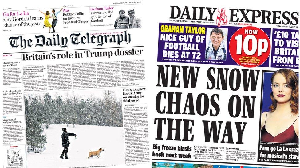 Recent newspaper headlines uk