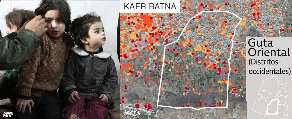 Mapa que muestra los daños en Kafr Batna, Guta Oriental