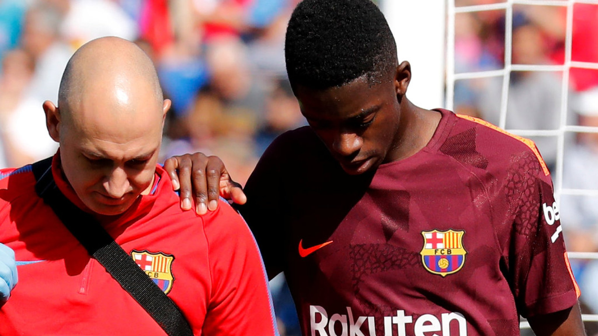 Barca record signing Dembele faces three and half months out
