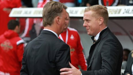Swansea manager Garry Monk (R) with Manchester United boss Louis van Gaal