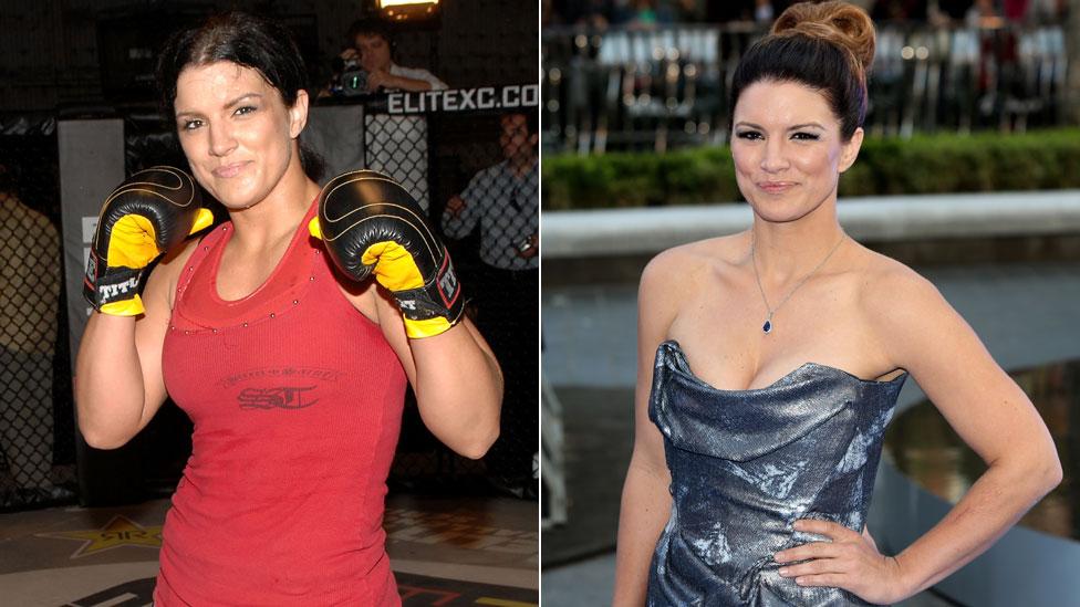 Carano con los guantes en 2008 y sobre la alfombra roja en 2013