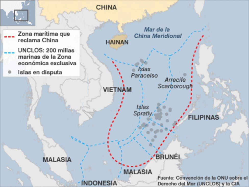 Mapa del mar de China Meridional que muestra las zonas en disputa.