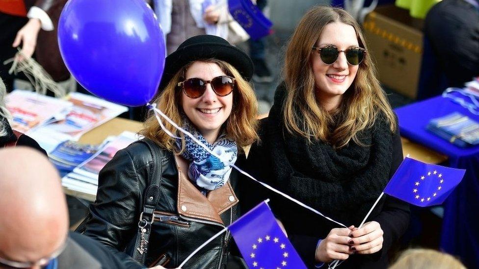 En Frankfurt hubo a principios de año manifestaciones a favor de la Unión Europea.