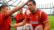 Justin Tipuric is congratulated by his team-mates after Wales' 16-10 win over Ireland
