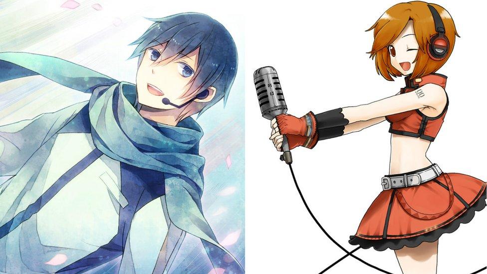Kaito (izda) y Meiko (dcha) también son cantantes virtuales.