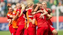 England celebrate finishing third at the Women's World Cup