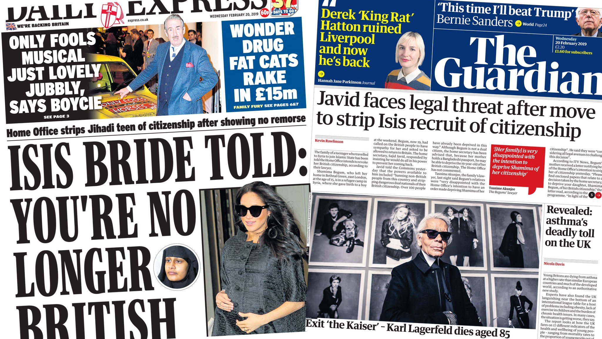 Newspaper headlines: IS bride loses UK passport and fashion icon tributes