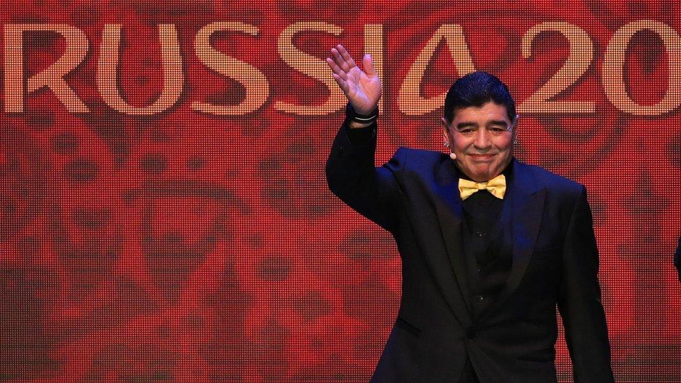 Diego Armando Maradona en el sorteo