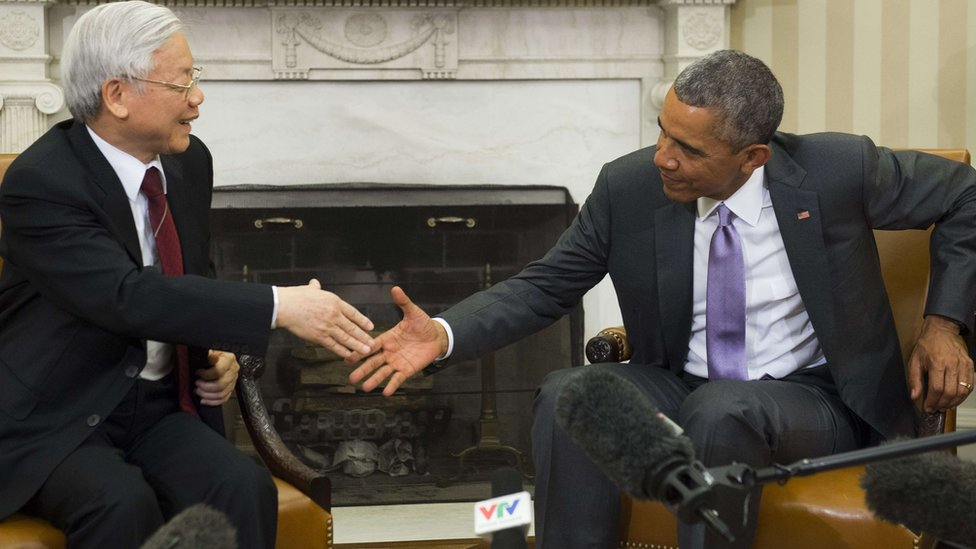 US President Barack Obama meets Vietnam's Communist Party leader at the White House, the first such meeting since relations were normalised 20 years ago.