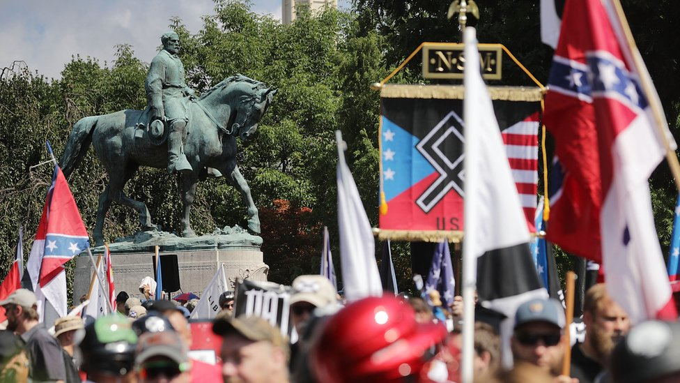 """General crowd shot from Charlottesville protests. Violence broke out at the """"Unite the Right"""" rally in Charlottesville before the attack that killed counter-protester Heather Heyer"""