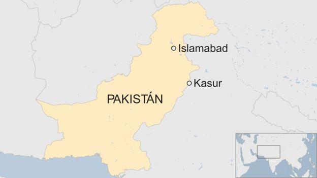 Mapa Kasur, Pakistán