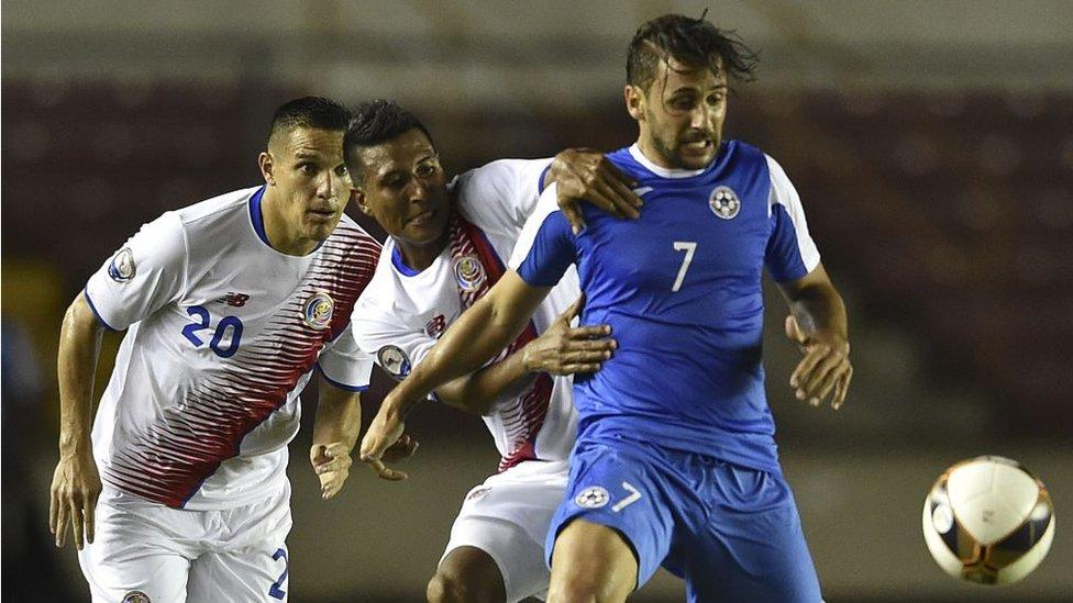 Partido de fútbol entre Nicaragua y Costa Rica