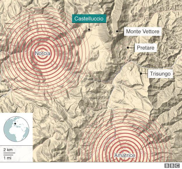 Mapa que muestra el epicentro de los terremotos de 2016