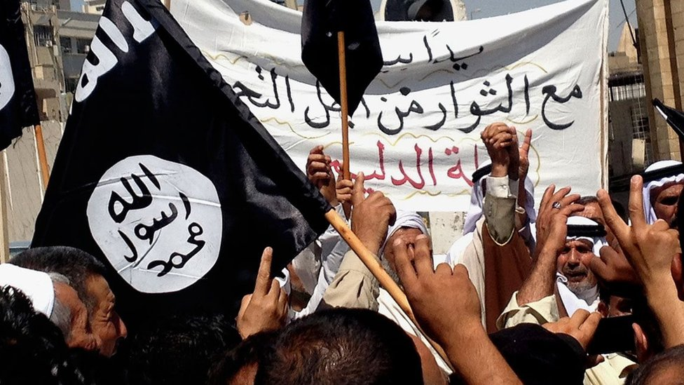 Islamic State supporters attend a rally outside the Nineveh provincial government headquarters in Mosul (16 June 2014)