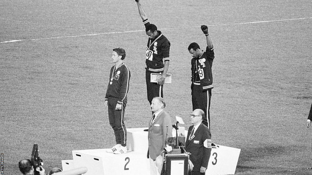 Lynn Davies recalls witnessing the Black Power salute at the 1968 Olympic Games
