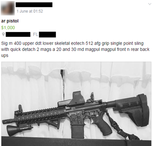 Gun for sale on a Florida based gun trading Facebook page.