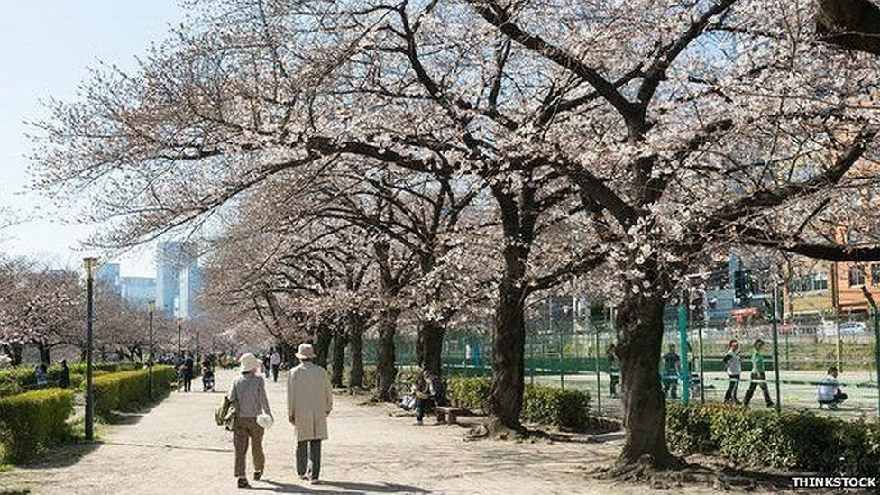 Ancianos caminando en Japón