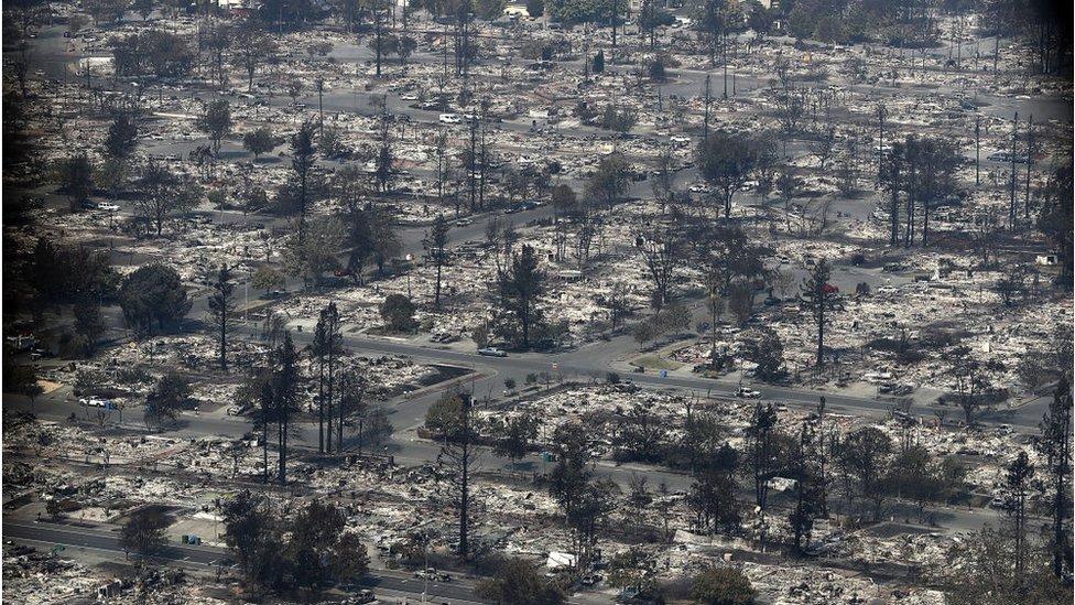 El condado de Sonoma, en el norte de San Francisco, se lleva hasta ahora el peor saldo de la devastación: 11 de las muertes tuvieron lugar allí y en ciudades como Santa Rosa están destruidos distritos completos.