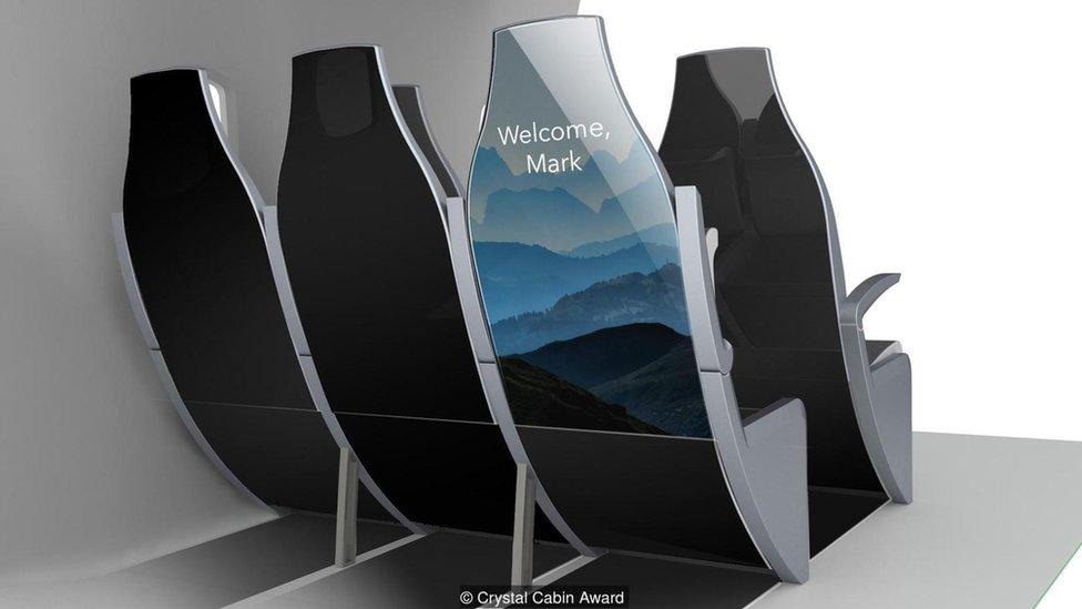 Con Myseat un aparato de bluetooth va guiando a los pasajeros desde el mostrador de facturación hasta el avión. )(Imagen cortesía de Crystal Cabin Awards)