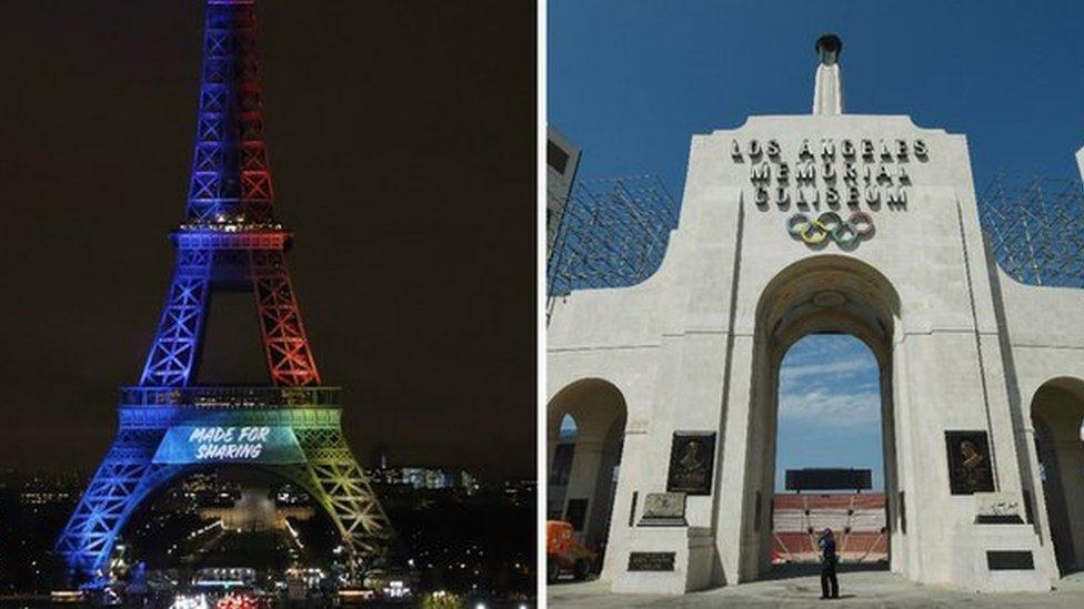 La Torre Eiffel y el Coliseo de Los Ángeles