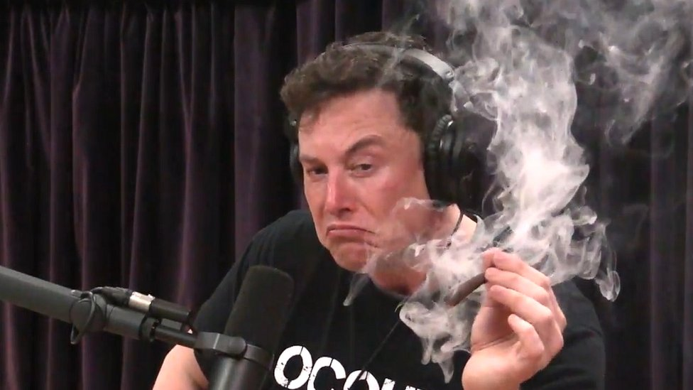 Elon Musk smokes marijuana live on web show