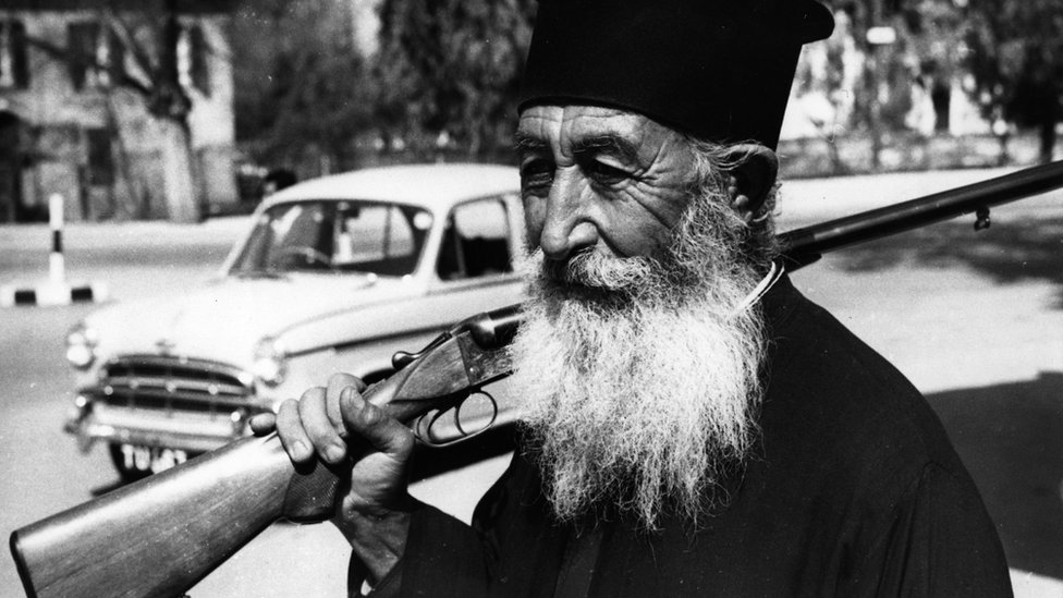 Armed Greek Cypriot priest pictured in 1964