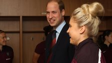 Prince William (centre) and Steph Houghton (right)