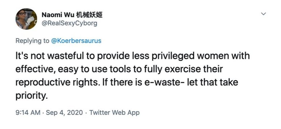 Tweet from Naomi Wu