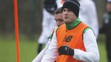 Celtic striker Anthony Stokes in training