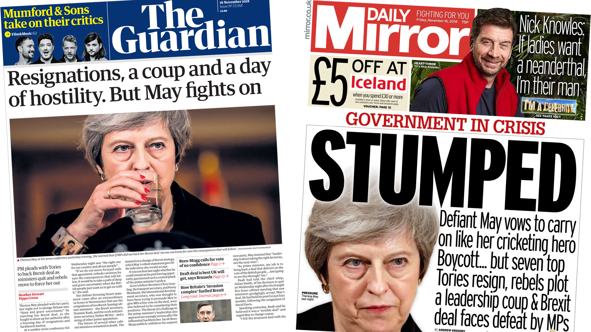 Newspaper headlines: 'May fights on' amid Brexit deal resignations