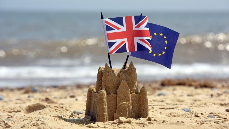 歐盟和英國旗幟