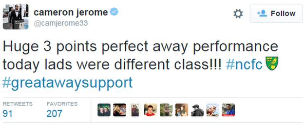 Cameron Jerome tweet