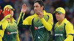 Australia celebrate a wicket by Glenn Maxwell (second right)