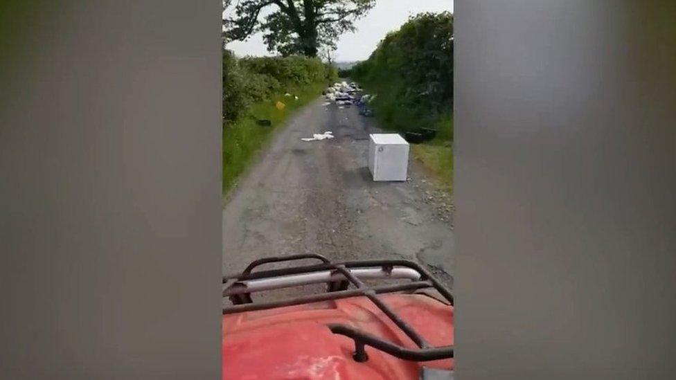 Rubbish dumped along entire stretch of road near Pontypridd